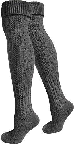 normani 2 Paar Oktoberfest Kniestrümpfe Trachten Socken EXTRA LANG aus Baumwolle Farbe Anthrazit Größe 39/42