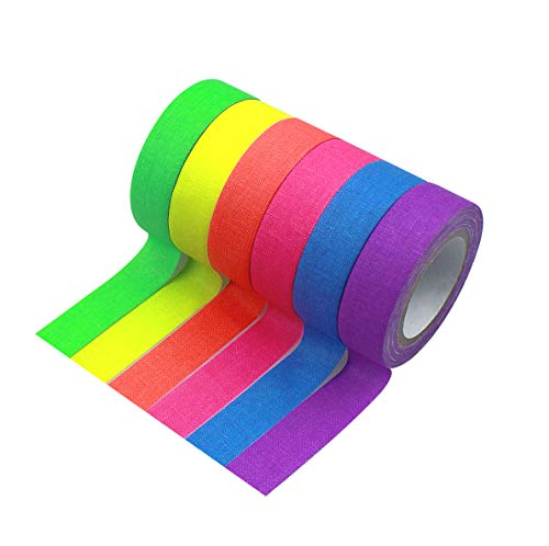 6 Rollos Cinta Luminosa, Cinta Adhesiva Luminosa Glow in the Dark, Cinta Autoadhesiva Tape Fluorescente UV Fluorescente Luz Negra, Neón Gaffer Tape para Suministros de Fiesta, 15mmx5m