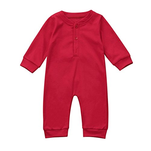 iumei Newborn Baby Boys Girls Long Sleeve Solid Rompers Jumpsuits Outfits Xmas Clothes (0-6 Months, Red)