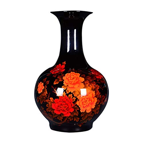 FTFTO Living Equipment Home Simplicity Vase Ceramic Moderhighgrade for Home Household Wedding Living Room Bedroom Office Table Black 38.5 x 60 cm Home Simplicity Vases Decorations
