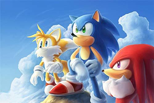 Puzzle 1000 Piezas para Adultos Niños,Sonic the Hedgehog Anime Gran Juego de Rompecabezas para Adultos Adolescentes Entretenimiento Juguetes Decoración del Hogar 30x20inch