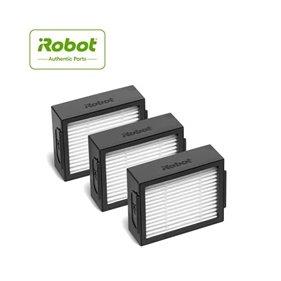 iRobot Authentic Replacement Parts- Roomba e and i Series High-Efficiency Filter, (3-Pack), White - 4639161 1 Replacement Filters. High-Efficiency Filter captures 99% of cat and dog dander allergens. Replace your robot's filter to help maintain optimum cleaning performance.