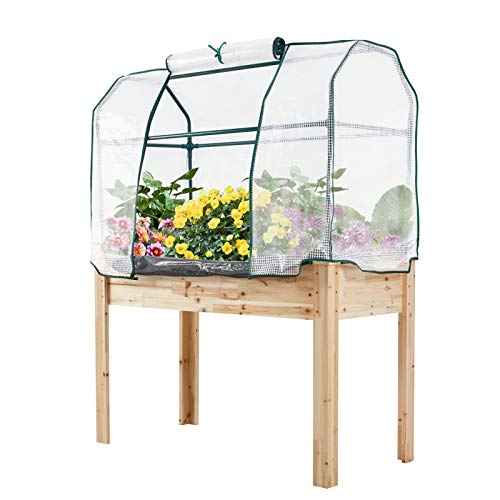 """U-MAX Raised Garden Bed Planter Box Wooden Outdoor Planter Bed with PE Greenhouse Cover for Vegetable/Flower/Herb Natural Fir Wood 59"""" (H) x 45 1/4""""(L) x 22 1/2""""(W)"""