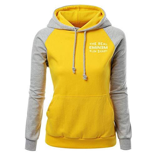 Eminem Pullover Frauen Casual Hoodie Tops Einfache Sweatshirt Dame-modische Patchwork Pullover Unisex (Color : Grey08, Size : M)