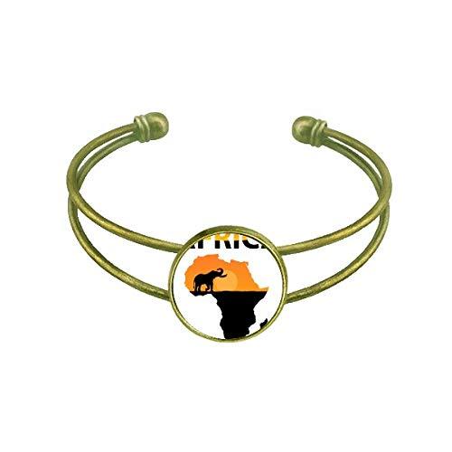 DIYthinker Afrika Karte Savanne Elefant Wildlife Armband Armreif Retro Offene Manschette Schmuck