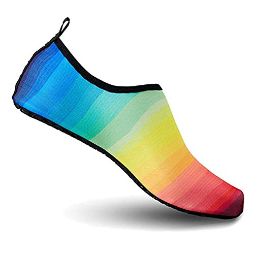 Deals Multi-Color Aqua Socks ater Shoes Women's Men's Outdoor Beach Swimming Aqua Socks Quick-Dry Barefoot Shoes Surfing Yoga Pool Exercise (Pride, 4XL)