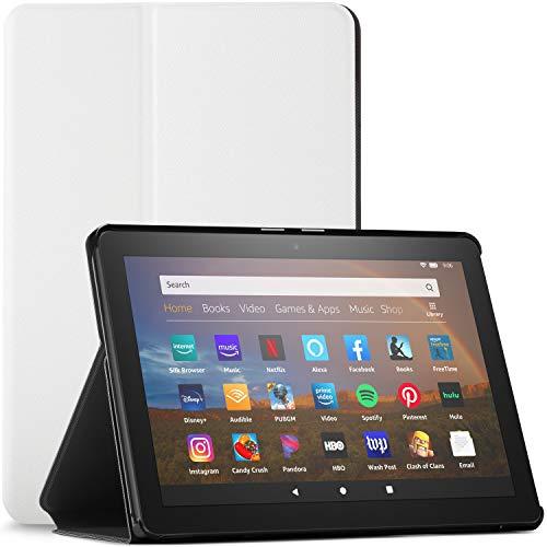 Forefront Cases Hülle für Das Neue Fire HD 8 - Schutz Fire HD 8 2020 Hülle Ständer - Weiß - Dünn & Leicht, Smart Auto Schlaf/Wach, Amazon Fire HD 8 2020 / Fire HD 8 Plus 2020 Hülle, Tasche