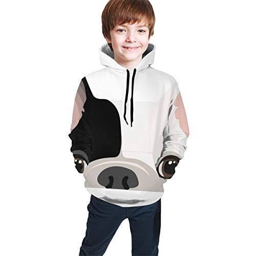 YongColer Boys Girls 3D Printed Hooded Sweatshirt Casual Pullover Hoodie with Big Pockets(Black White Cute French Bulldog Print, L)