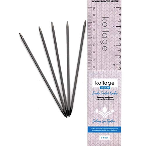 """Kollage Square Double Pointed Needles, 5"""" / 13 cm, Set of 5, (7 US / 4.50 mm)"""