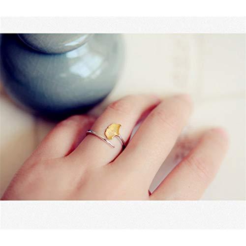 WZYMNJZ Stil Ginkgo Leaf 925 Silber Sterling Offene Ringe Für Frauen Überzogene Goldringe Hypoallergene Sterling Silber Ringe Mädchen