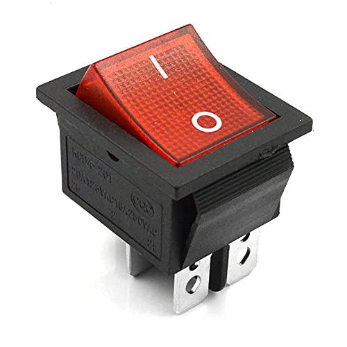 LIZONGFQ 10 Piezas lámpara roja 4 Pines ON/Off 2 Posiciones DPST Interruptor basculante 16A / 250V KCD4-201 Nuevo