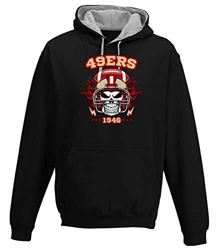 Shirt Happenz 49er American Football Skull Any Given Sunday Forty-Niners San Francisco Premium Varsity Hoodie Pulli Kontrasthoodie Kapuzenpullover, Größe:XL, Farbe:Schwarz Graumeliert JH003