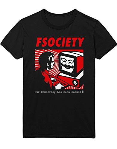 HYPSHRT Herren T-Shirt Mr. Robot Hacked Democracy C001046 Schwarz XL