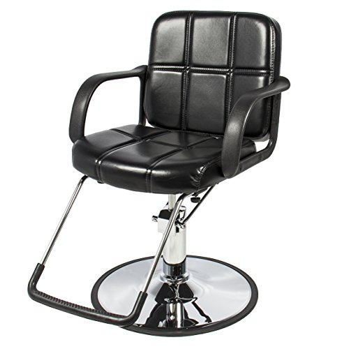 Best Choice Products Hydraulic Barber Chair Styling Salon Work Station Chair Black Leather New