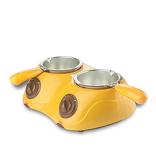 Molinter Schokolade Schmelztopf Schmelztiegel Set Elektrische Süßigkeiten Schmelzgerät Maschine Küchenwerkzeug mit DIY Form Set Schokolade Schmelztiegel (Gelb, Doppelter Topf)