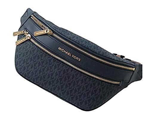"""MK Kenly Medium Waist Pack BumBag Admiral Blue Crossbody Golden Accents Signature Print PVC with Leather Trim Zip Closure, Outside zip pocket, Inside pocket Adjustable Belt for Waist Wear (Fits up to 40"""" Waist) Approximate Dimensions: 14"""" x 6.5"""" x 2...."""
