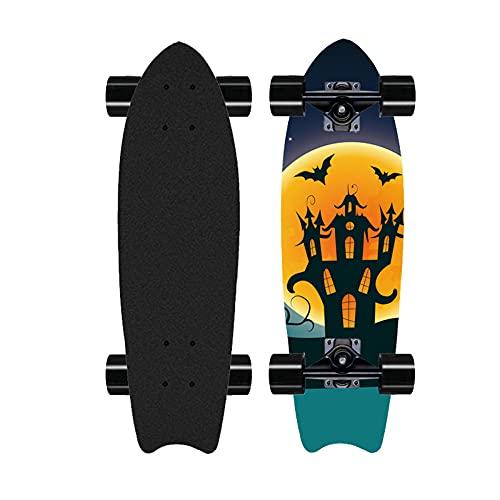 Monopatín de Tablero de Piso Grande, patineta Profesional de Surf, monopatín de Carretera, Adecuado para Principiantes para niños Adolescente para Adultos monopatín de Arce-B_28 Pulgadas