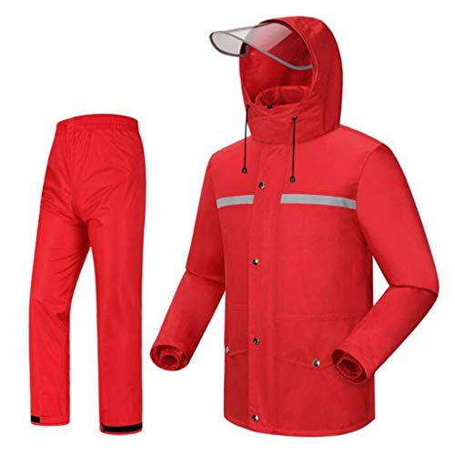 Vattentät regnrock, vattentät regnjacka kappa och byxset kostym lätt regnrock bärbara regnkläder för utomhuscykling camping resor vandring polyester (storlek: Xl)