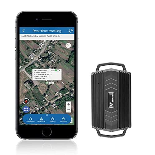 Hangang Traceur GPS Magnétique Puissant Intégré Étanche, GPS Tracker Cars Positionnement en Temps Réel Fonctions d'alarme Multiples Antivol pour Voiture Camion Moto Autos Véhicule