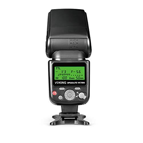 Voking VK750III Remote TTL Speedlite Slave Mode Flash with LCD Display Compatible with DSLR Standard Hot Shoe Cameras EOS Rebel 4000D 5DS 5DSR 5S Mark IV 5D Mark III 6D 6D Mark II 7D 70D 77D 80D