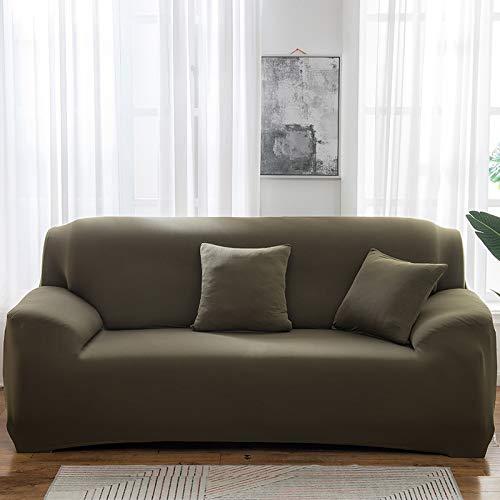 NOBCE Funda de sofá elástica Estiramiento Tight Wrap Fundas de sofá Todo Incluido para Sala de Estar Funda de sofá Silla Funda de sofá Funda de Almohada Verde Oscuro 235-300CM