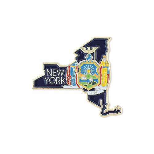 Forge New York State Shape Outline and New York State Flag Lapel Pin - Bulk Value Pack Available! (1 Pin)