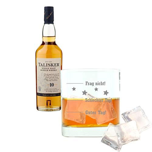 Whiskey 2er Set, Talisker 10 Jahre, Single Malt, Schottland, Whisky, Scotch, Alkohol, Alkoholgetränk, Flasche, 45.8%, 200 ml, 677132, Geschenk zum Vatertag, mit graviertem Glas