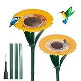 Sunflower Standing Bird Feeder Outdoor(2PCS),Bird Bath Feeders Bowl for Outdoor,Bowl Bird Feeder Flower Shape Bird Feeding Tray,Garden Decor Stake,Wild Bird Watcher,Gifts for Bird Lovers