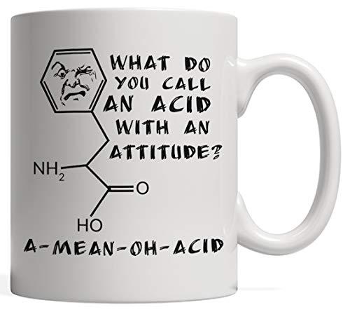Taza divertida de ciencia a Mean Oh Acid Pun Breaking – un gran regalo para tu profesor de física, química o biología, 11 oz