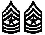 U.S. Army Metal Pin On Enlisted Rank BLACK - 1 PAIR (E9 SGM)