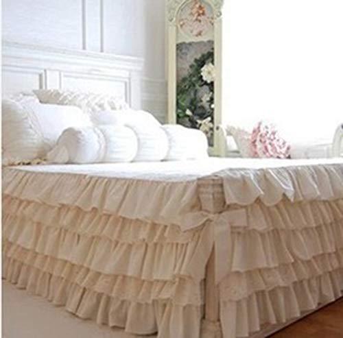 Envoltura Alrededor Encajes Falda De Cama,Elástica Pastel De Cinco Capas Faldón De Volantes Medidas Canapé Dormitorio Colchón Colcha con Volante-A-180x200cm(71x79inch)