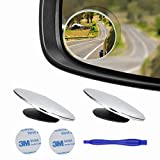 2 pcs Blind Spot Mirrors, 2' Round Ultra-thin Frameless HD Glass Convex Side Rear View Mirror with Wide Angle Adjustable Stick for Cars SUV and Trucks, Pack of 2