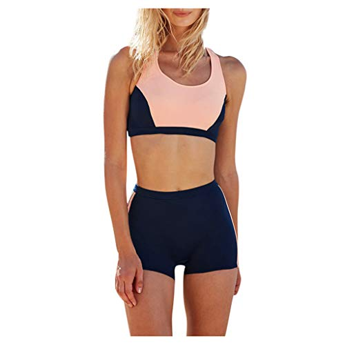 Zylione Bikini Damen Freizeit Sportlicher Stil Bademode O-Neck Zeige Bauch Tankinis Flacher Winkel Strand Schwimmbad Zweiteilige Badeanzug (34,A-Rosa)