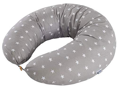 Stillkissen Schwangerschaftskissen Seitenschläferkissen 100% Baumwolle für Mutter und Baby Medi Partners Schlafen Lagerungskissen XXL (Weiße Sterne auf grau)