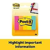 Post-it Marcadores de página, 1/2 pulgadas x 1 3/4 pulgadas, colores surtidos, 100 hojas/bloc, 5 almohadillas para orejas/paquete (670-5AN)