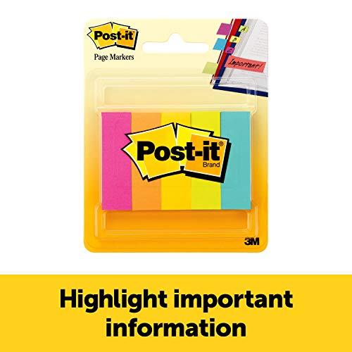 Post-it marcadores de página, 1/2 pulgadas x 1 3/4 pulgadas, colores surtidos, 100 hojas/bloc de 5 almohadillas para orejas/paquete (670-5AN)