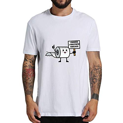 Flyshow T Shirt Kurzarm Sommer - Shirt HerrenPaare Mode Tops Kurzarm Ich überlebte Toilettenpapier Panik 2020 T-Shirt