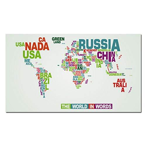 sjkkad Kleurrijke wereldkaart Brief Scandinavische stijl canvas schilderij abstracte kunst wandschilderijen voor woonkamer wooncultuur druk op canvas 60 x 100 cm geen lijst