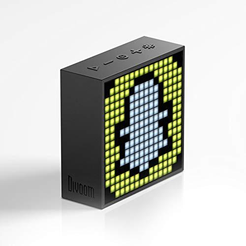 pixel draadloze bluetooth speaker beeldtijd display nachtkastje alarm, Geel