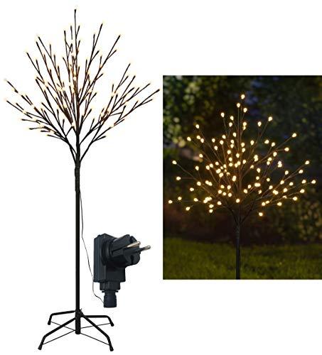 LED Lichterbaum mit 108 warm-weißen Lichtern beleuchtet, 120 cm hoch, die Lichterzweige sind flexibel, Weihnachtsbaum mit Lichterkette