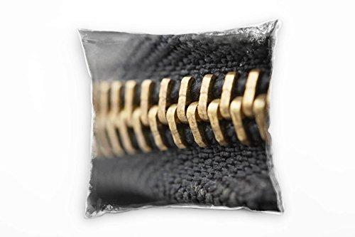 Paul Sinus Art Macro, goud, zwart, decoratief kussen met ritssluiting, 40 x 40 cm, voor bank, sofa, lounge, sierkussen