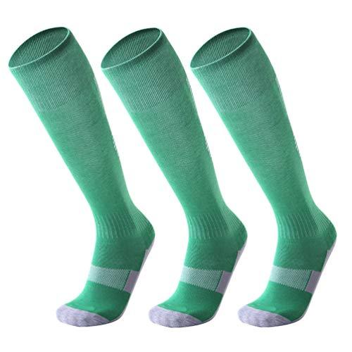 WanYangg Unisex Kind Knie Lang Socken Rutschfeste Sportsocken Dicke Deodorant Streifen Stutzenstrümpfe Kompression Basketball/Fußball/Trekking Laufen 2#Grasgrün + weißer Streifen Kinder