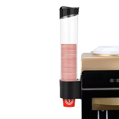 Dispensador de taza de agua, dispensador de taza de papel para montar en la pared, dispensador de plástico para 60~80 vasos de papel y conos de papel biodegradables 9 * 41.5cm negro
