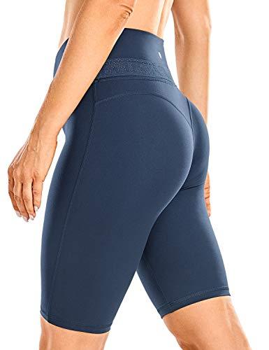CRZ YOGA Mujer Suaves Atléticos Pantalones Cortos de Yoga Entrenamiento Control de Barriga -25cm True Navy 42