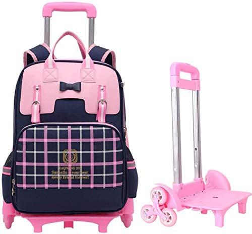 Trolley Rucksack für Kinder, Junge und Mädchen Grundschule Rucksack Splash-Proof Nylon Stoff Abnehmbare Dreirad Jialele (Color : Big)