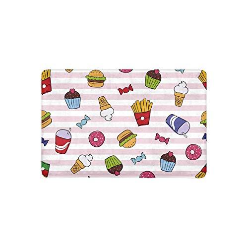 Felpudo divertido de comida rápida sobre rayas Franch Fries para tartas y donas y hamburguesas, para interiores y exteriores, 40 x 60 cm