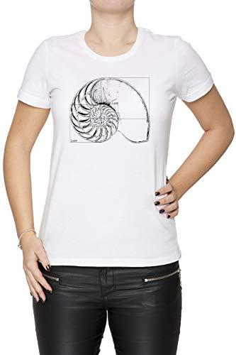 Erido Fibonacci sur Une Nautile Coquille Femme T-Shirt Cou D'équipage Blanc Manches Courtes Taille XS Women's White T-Shirt X-Small Size XS