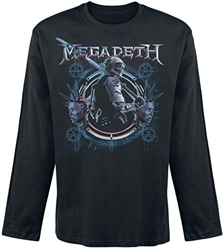 Megadeth Dystopia Hombre Camiseta Manga Larga Negro S, 100% algodón, Regular