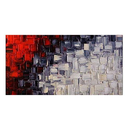 Pinturas al óleo Pintadas a Mano Sobre Lienzo Rojo Gris Blanco y Negro Creativo Personalidad Arte Moderno Decoración de Pared para Sala de estar Dormitorio Dormitorio de Oficina , 20