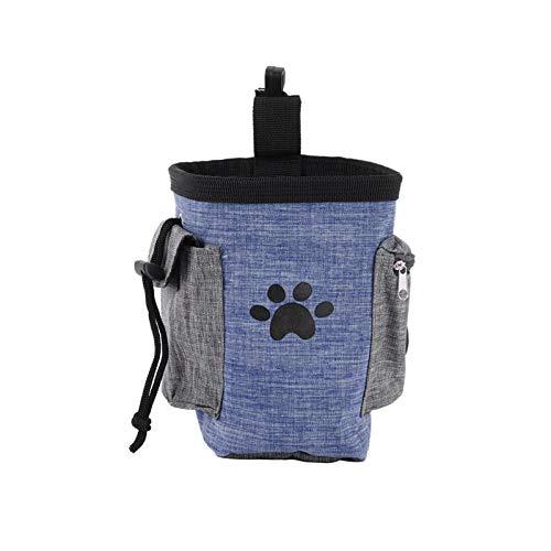 Gwotfy Borsa per Cani, Tasche Multiple, Snack, Sacchetti per Cacca, Borsa da addestramento per Cani, Marsupio, Forniture Portatili multifunzionali per addestramento Animali Domestici (Blu)